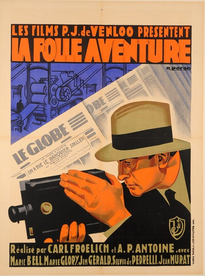 "French & German Movie Advertising Poster ""La Folle Aventure"""