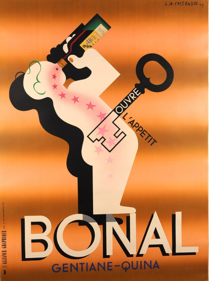 """Original Alcohol Drink French Adverting Vintage Poster """"Bonal"""" by Cassandre 1933"""