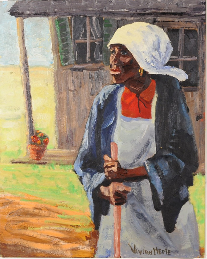 Original Signed Oil wood of African Woman by Vivian Merle ca. 1970