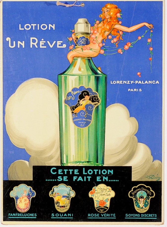 """Original Cosmetics Vintage Advertising Poster """"Lotion un Reve"""" by R. Dion"""