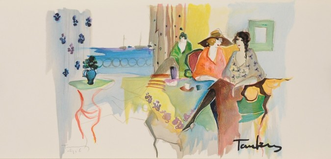 "Original Signed Lithograph from the book ""Works on Paper"" Itzchak Tarkay 1993"