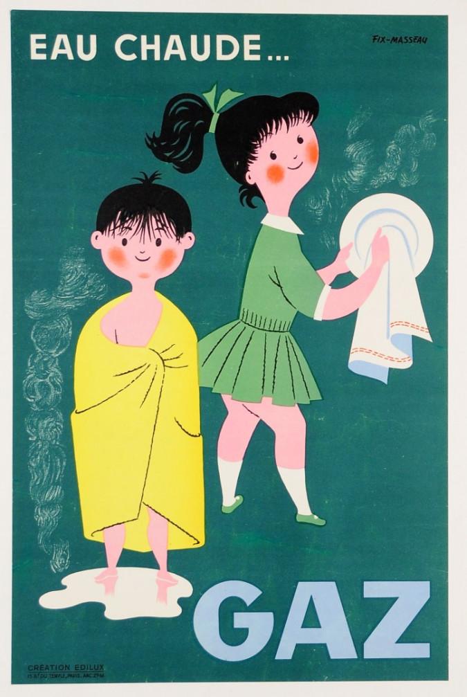 "Original Vintage French Advertising Poster ""Gaz""  by Fix-Masseau ca. 1960"
