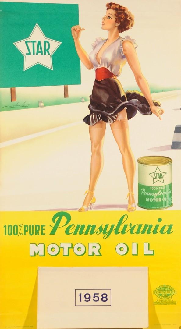 "Original Vintage Advertising Poster Calendar for ""Pennsylvania"" Car Motor Oil"