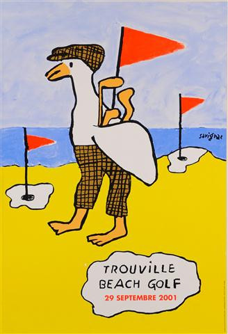 """French Travel Poster """"Trouville Beach Golf"""" by Savignac 2001"""