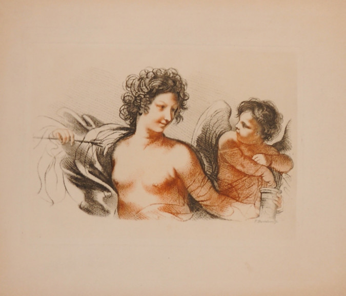 "Etching by Francesco Bartolozzi  ""Lady and Cherub"" D.W Edition"
