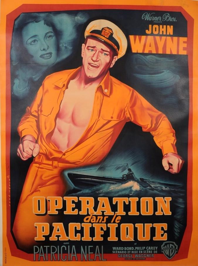 """Original French Movie Poster """"Operation dans le Pacifique"""" John Wayne 1951"""