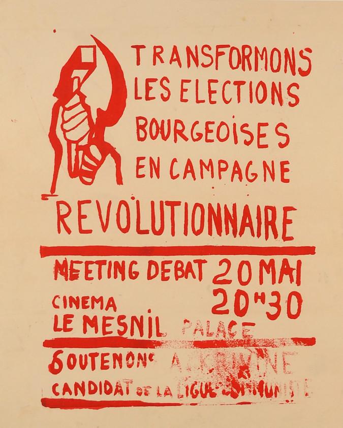 "Vintage French 1968 Student Revolution Poster ""REVOLUTIONAIRE"""