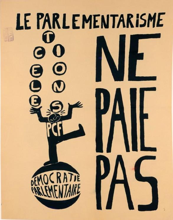 "Original Vintage French Poster ""Parliamentary Democracy"" Student Revolution 1968"