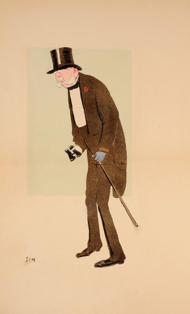 Original Color Lithograph – Caricature of Paris Bourgeois by SEM c. 1910