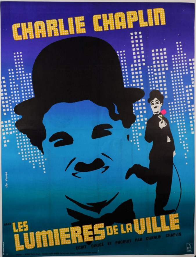 "Original Vintage French Movie Poster ""City Lights"" Charlie Chaplin later ed. 60'"