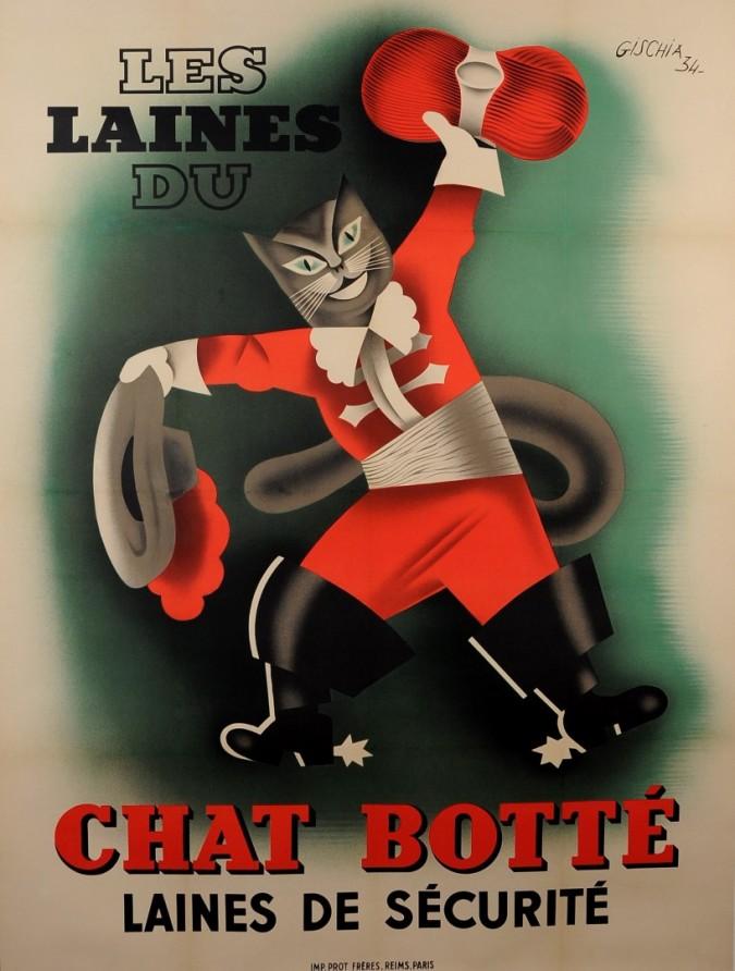 """Original Vintage French Poster """"Laines du Chat Botté"""" Cat by Gischia 1934"""