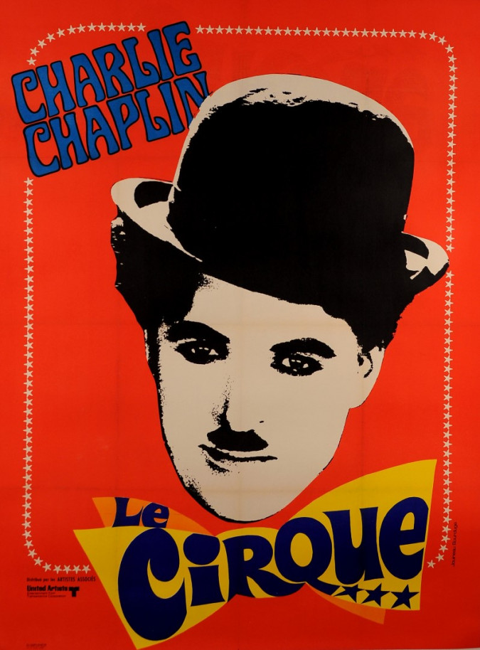 """Vintage French Movie Poster """"The Circus"""" Charlie Chaplin reissue. 1960's"""