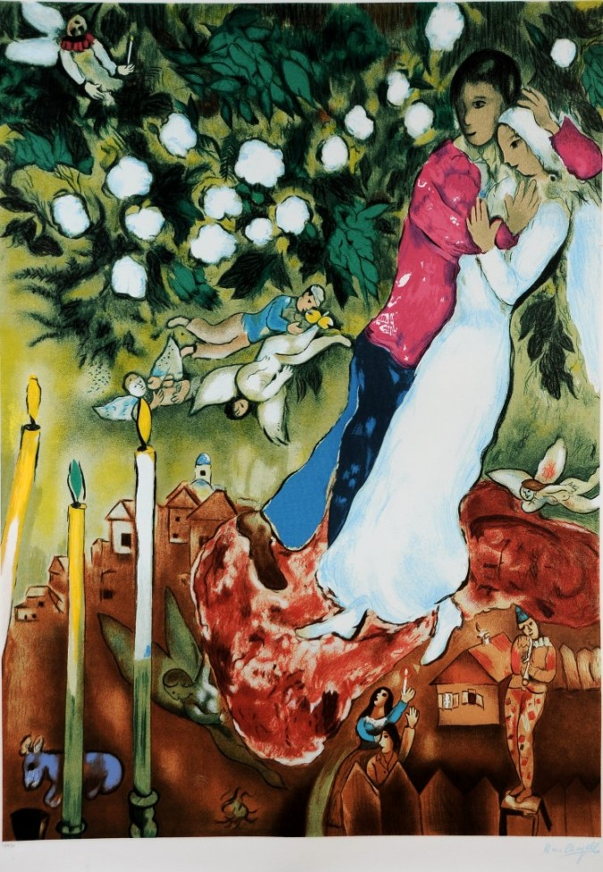 """Original Serigraph by Chagall After the Painting """"The Three Candles"""" 10/950"""