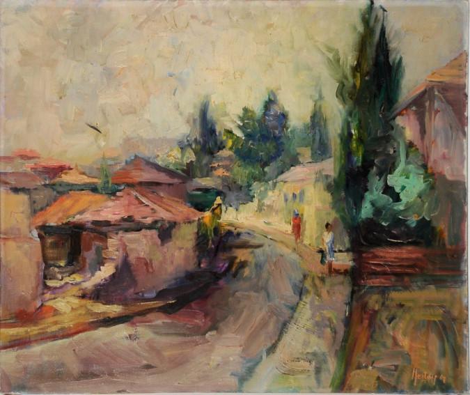 "Original Oil on Canvas of ""Mea Shearim"" in Jerusalem. RARE by Heddy Kun, 1967"