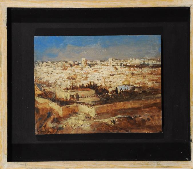 """Original Signed Painting Oil on Wood - """"JERUSALEM"""" 2011 by Kim Tkatch"""