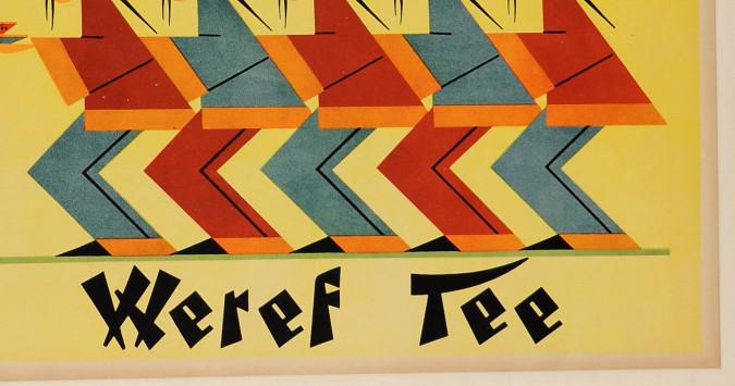 "Original Vintage German Poster ""Kenner Trinken, Weref Tea"" ca. 1950's"