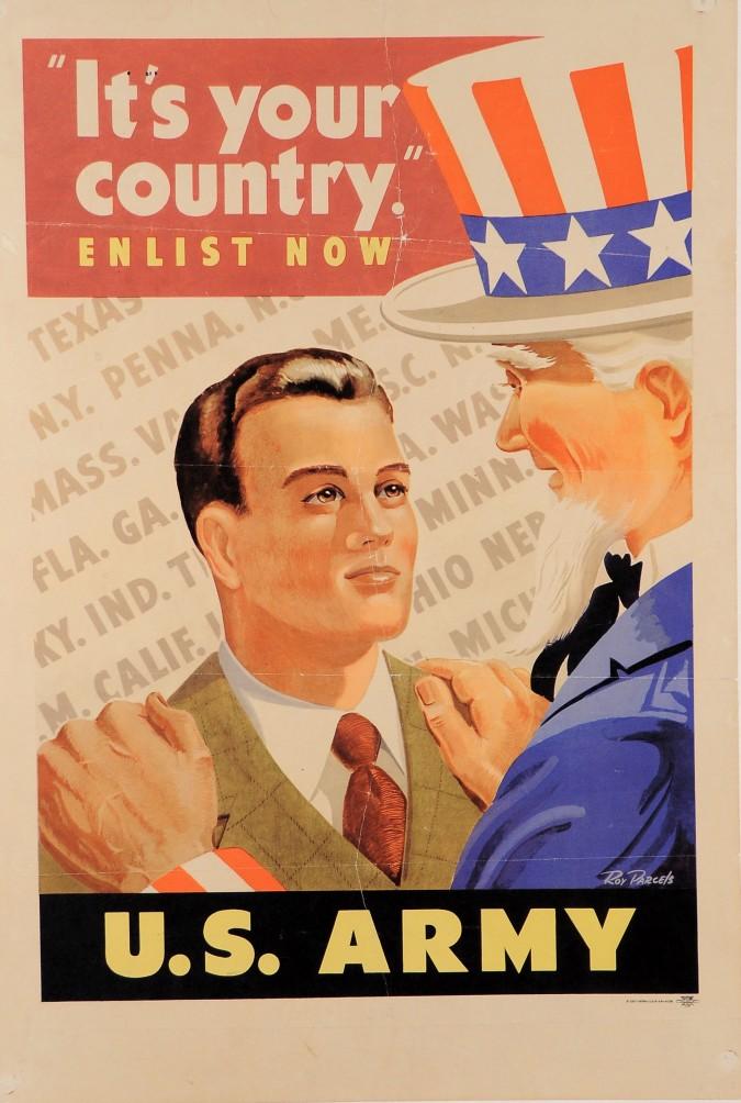 "American II World War Propaganda Poster ""I want you for US Army!"""