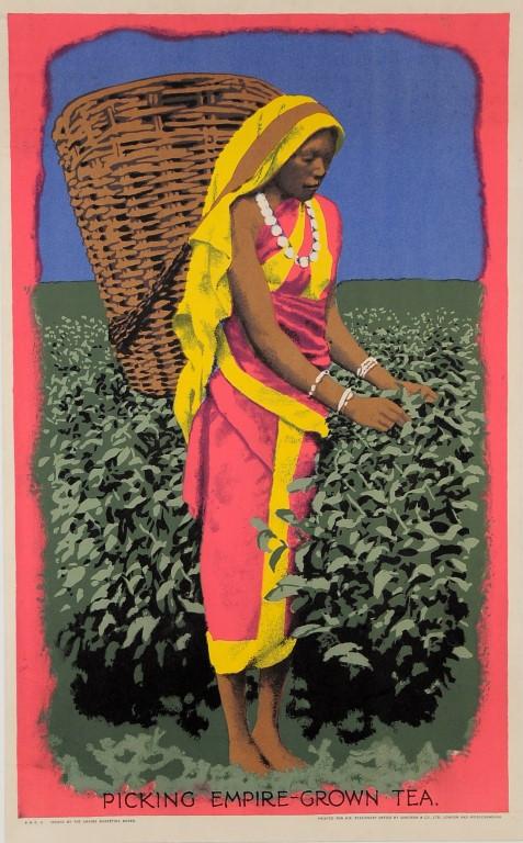 "Original Vintage Poster Tea Advetising ""Picking Empire-Grown Tea"""
