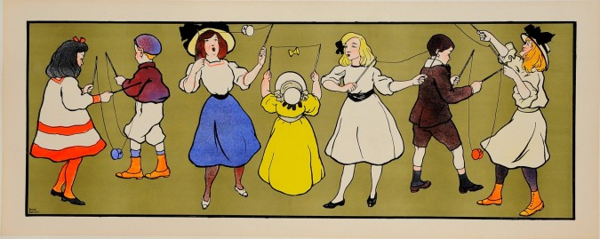 """Original Decorative Panel Lithographic Poster """"Children Playing"""" by Andre Blandin"""