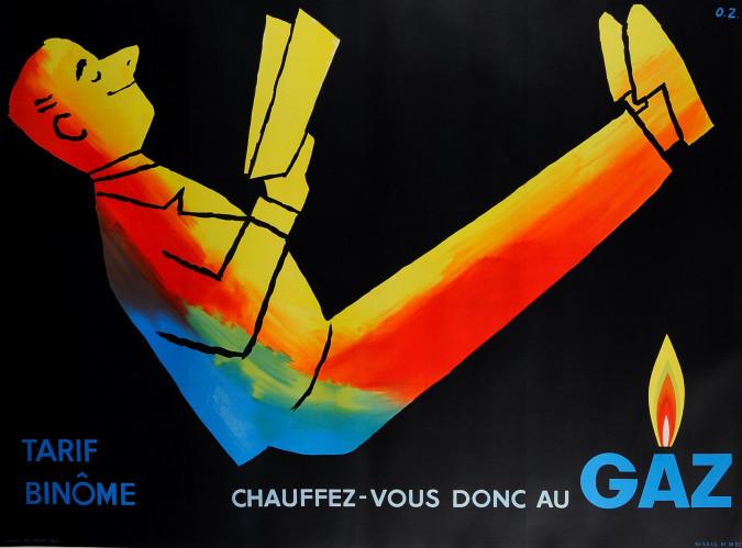 "Original Vintage French Art Deco Poster ""GAZ"" by O.Z."
