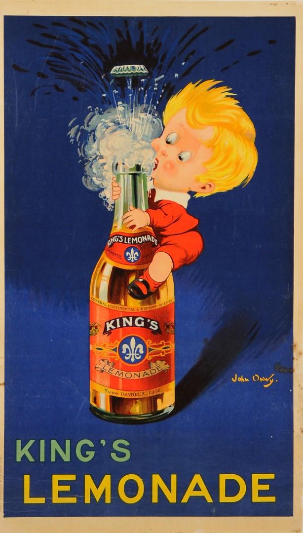 "Original Beverage Advertising Poster "" King's Fizzy Lemonade"" John Onwy ca. 1960"