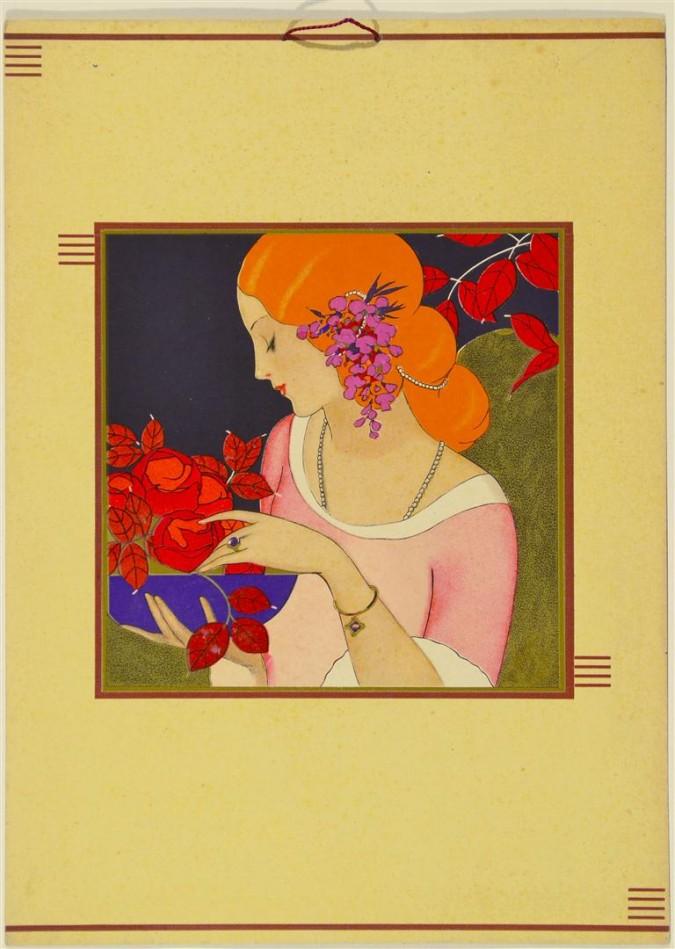 GORGEOUS Vintage Old ART DECO Lithographic Print ca. 1930's