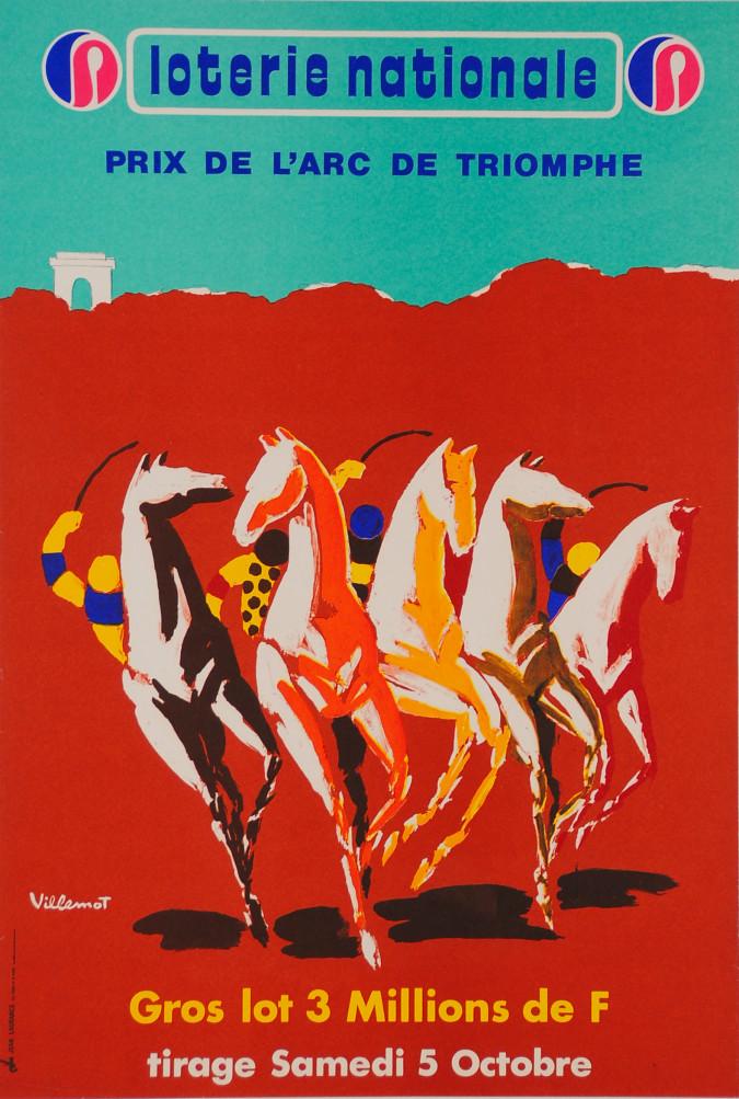 """Original Vintage Loterie Nationale Poster """"Prix de L'Arc de Triomphe"""" by Villemot ca. 1960"""
