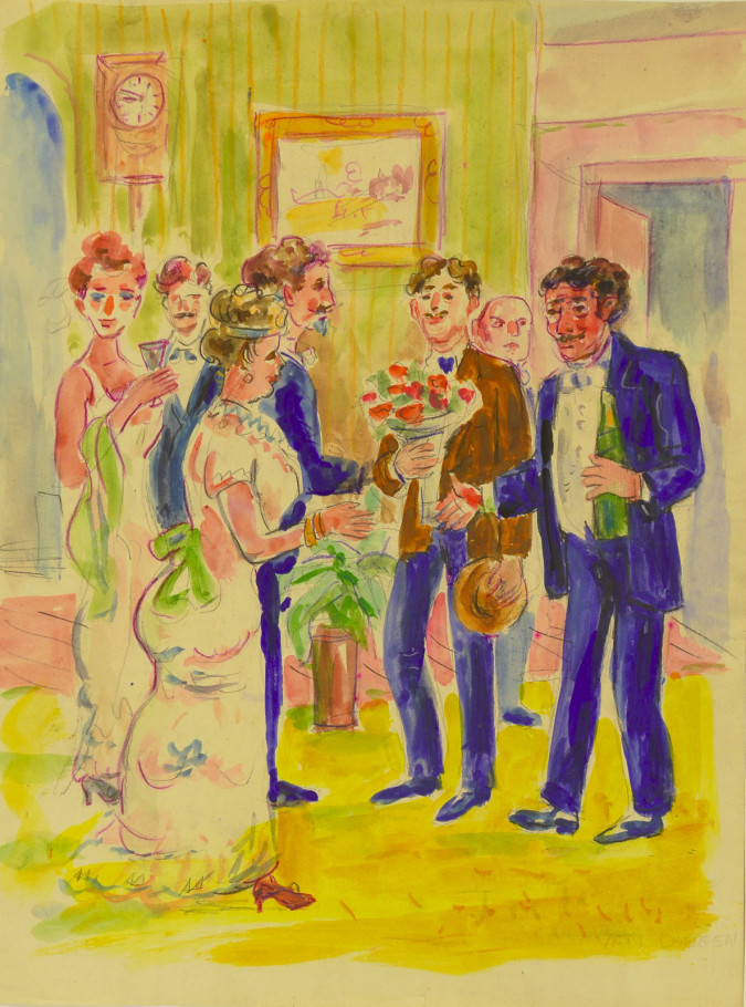 """ The Party"" Watercolor on Paper by Van Dongen"