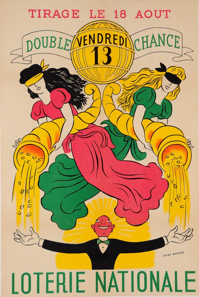 "Original Vintage Loterie Nationale Poster ""Tirage le 18 Aout"" ca.1960"