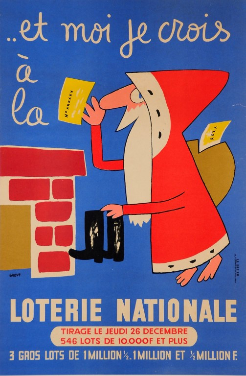 Original Vintage Loterie Nationale Poster by Grove 1965