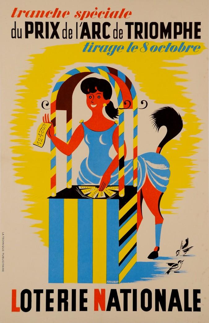 """French Poster """"Loterie Nationale"""" """"du PRIX de l'ARC de TRIOMPHE"""""""