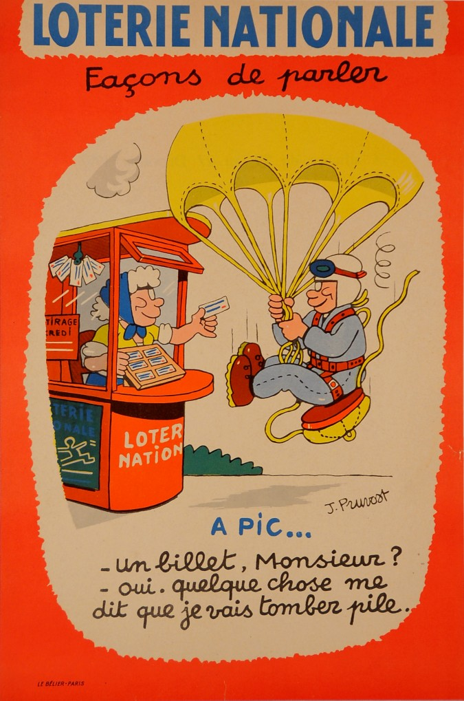 "Original Advertising Poster ""Loterie Nationale"" by J. Pruvost ca. 1960"