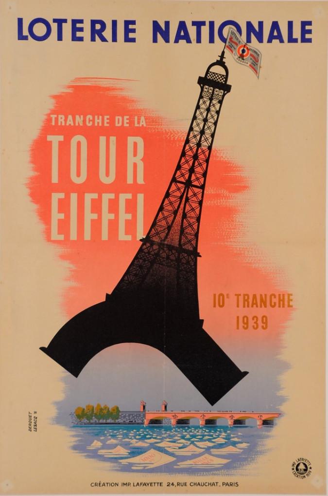 """Original Vintage Loterie Nationale Poster """"Tranche de la Tour Eiffel"""" 1939"""