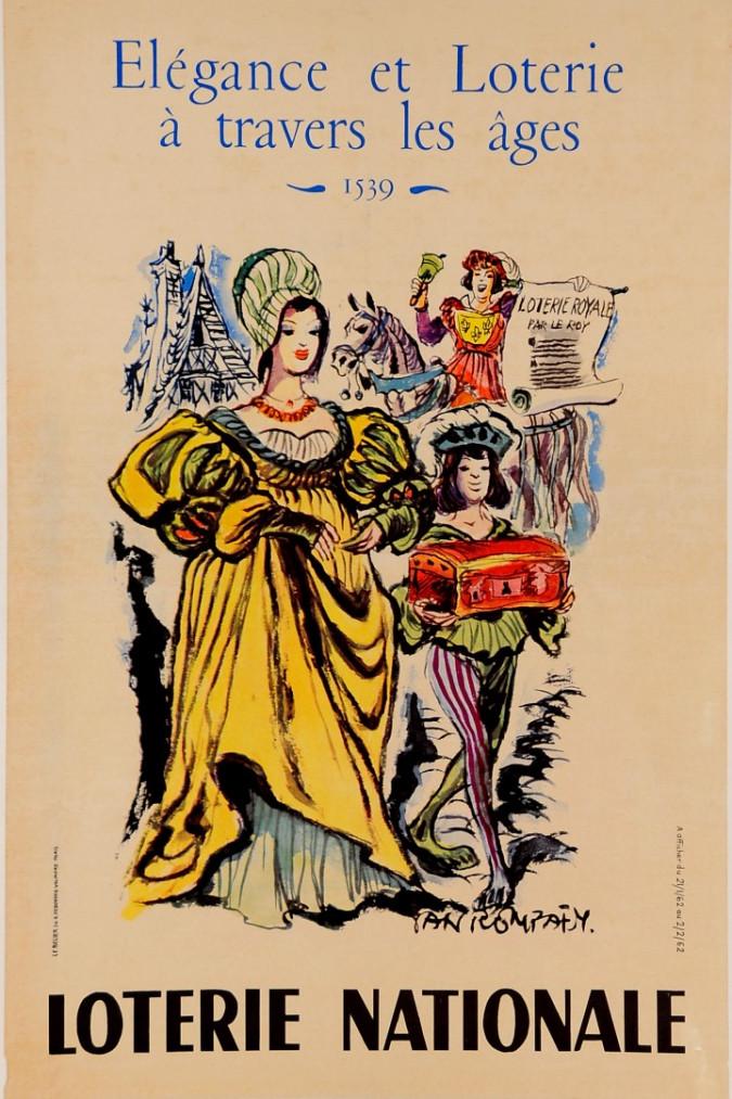 """Original Loterie Nationale Poster """"Elegance et Loterie a Travers les Ages"""" Yan Roypaey 1962"""