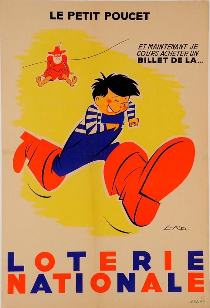 """Original Vintage Loterie Nationale Poster """"La Petit Poucet"""" by Gad ca. 1960"""