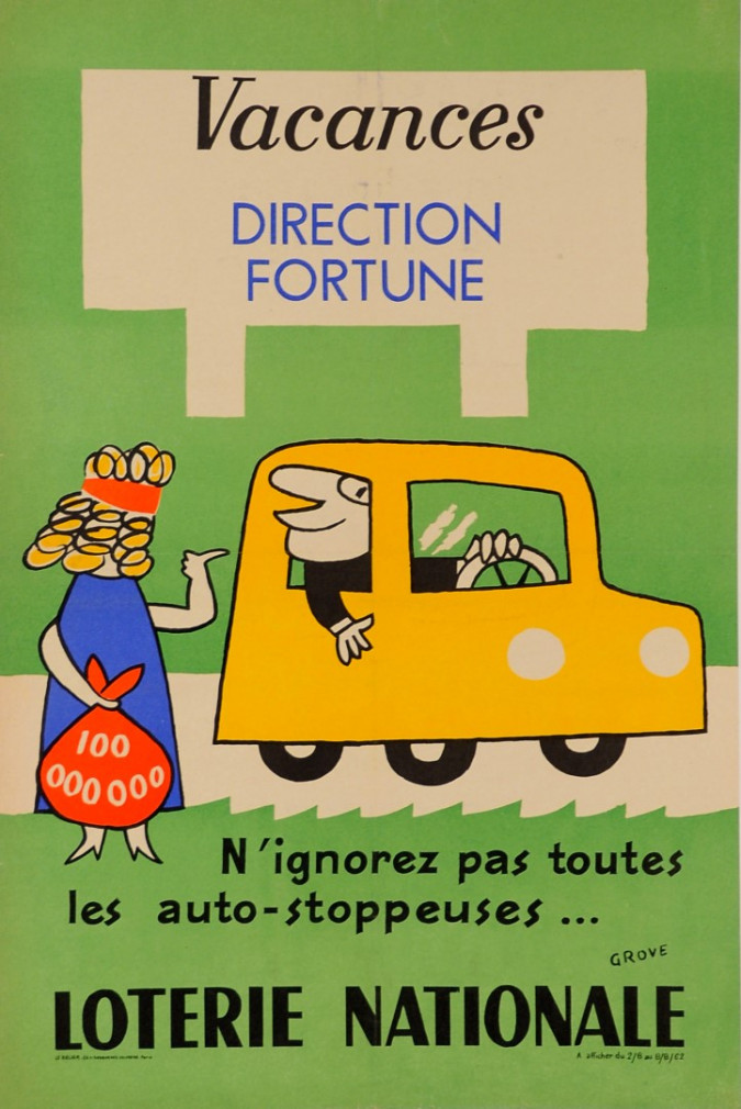 """Original Vintage Loterie Nationale Poster """"Vacances Direction Fortune""""   by Grove"""