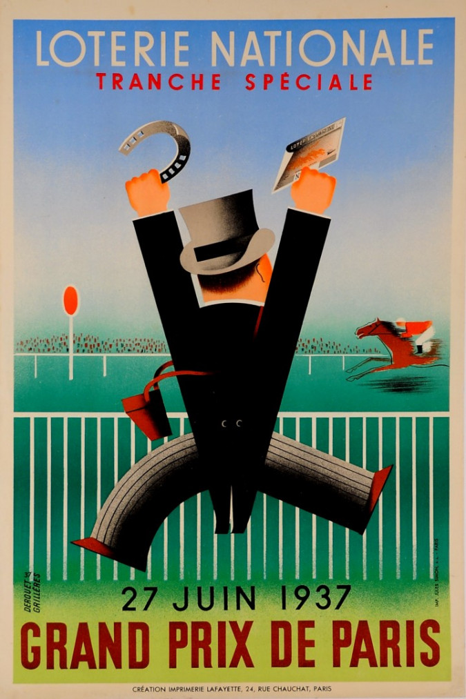 "Loterie Nationale Poster ""Grand Prix de Paris"" Grilleres 1937"
