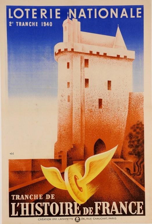 "Original Vintage French ""Loterie Nationale"" Poster 1940 Signed D. L."
