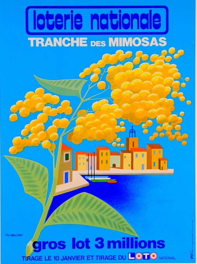 "Original Vintage Loterie Nationale Poster ""Tranche des Mimosas"" by Fix-Masseau"