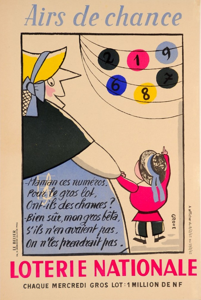 Original Vintage Loterie National Poster by Grove 1958