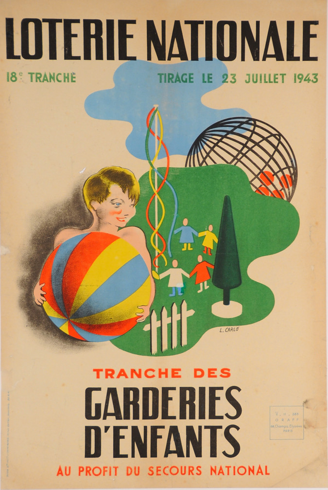 "Original Advertising Poster ""Loterie Nationale"" ""Garderies D´enfants""  L. Carlo´1943"