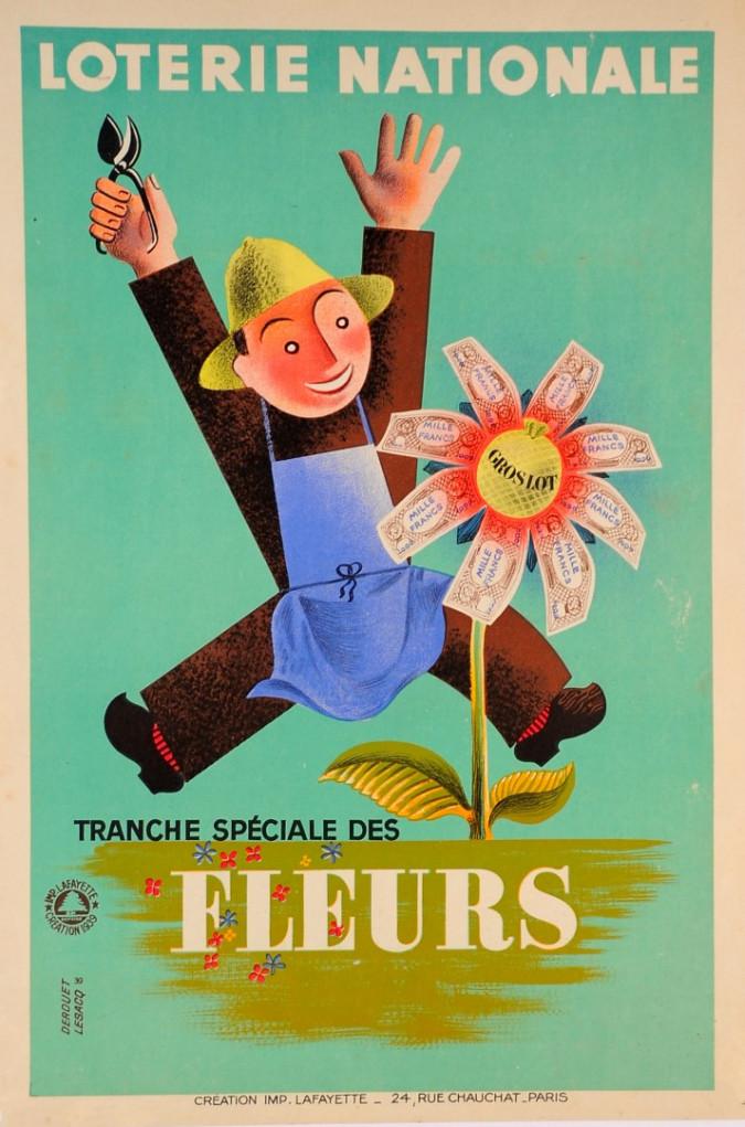 """Original Vintage Loterie Nationale Poster """"FLEURS"""" by Derouet Jesacq"""