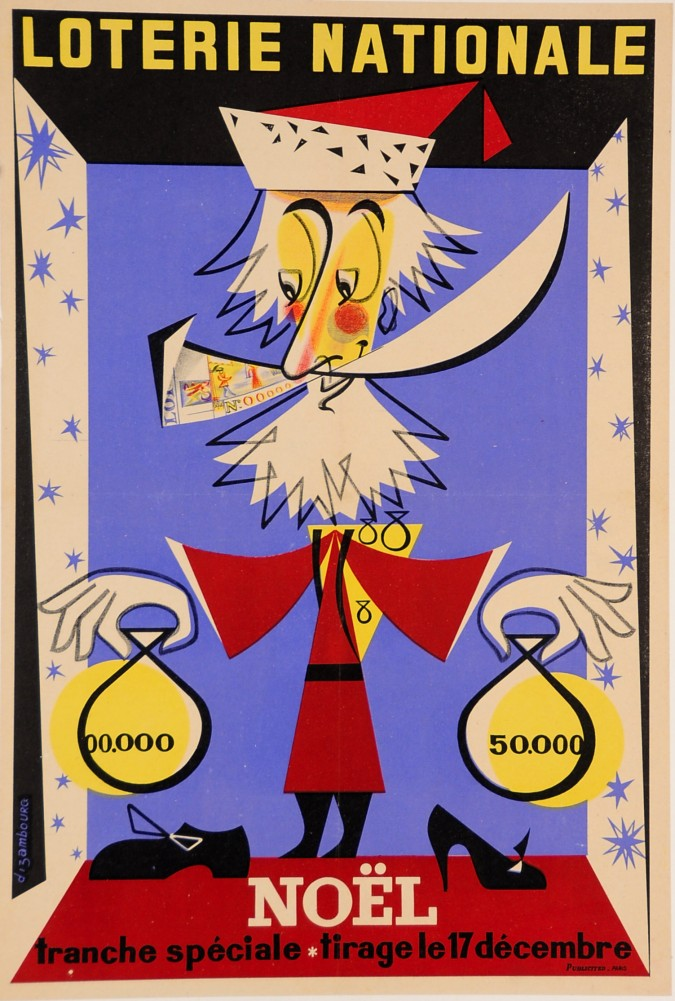 """Loterie Nationale Poster """"Noel"""" by Dizambourg ca. 1950"""