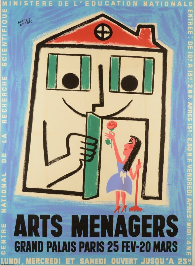 """French Exhibition Advertising Poster """"Arts Ménagers"""" by Bernard ca. 1950"""