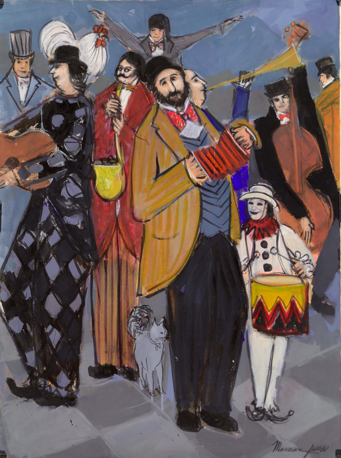 """Original Signed Gouash on Paper """"The Accordionist"""" By Isaac Maimon 1985"""