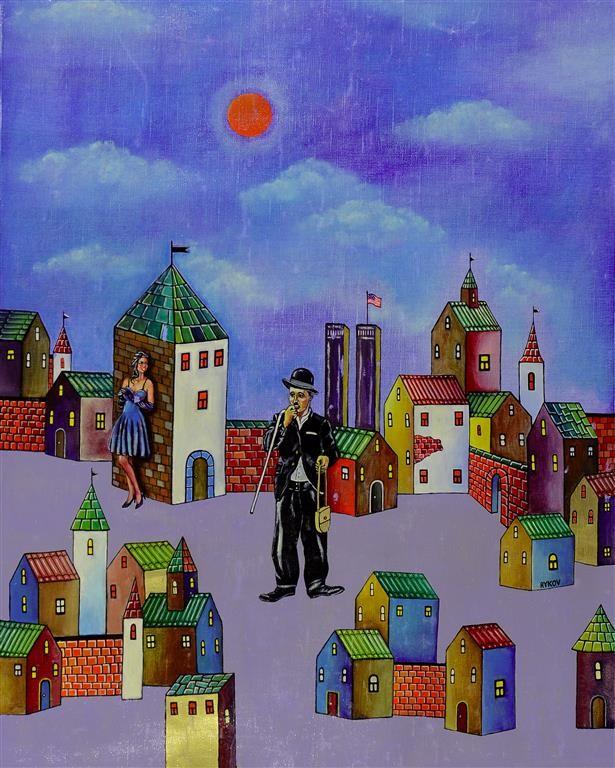 Original Acrylic on Canvas Painting by Rykov Russian Artist Charlie Chaplin