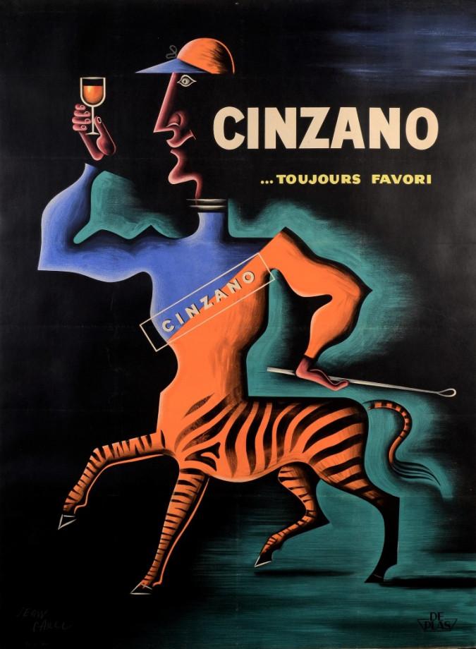 Original Vintage Alcohol Advertising Poster Cinzano by Carlu