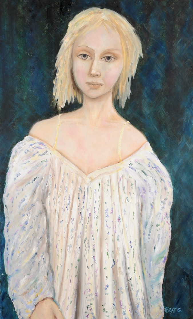 "Original Acrylic on Canvas ""Girl Dreamy Gaze"" Signed Efrat 2012"