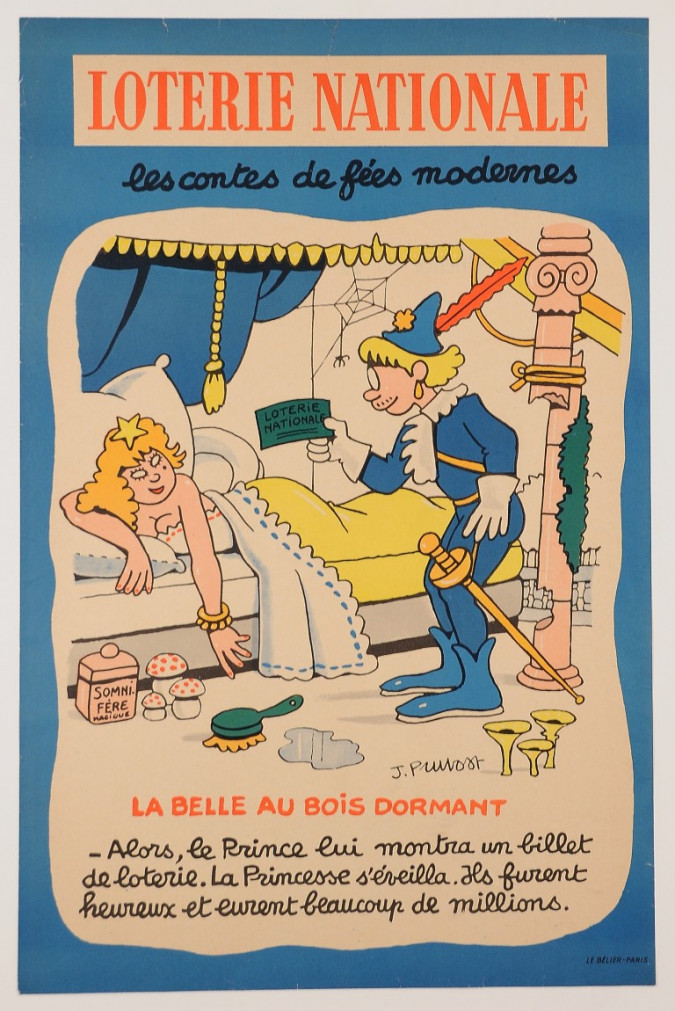 "Original Vintage Loterie Nationale Poster ""Modern fairy tales"" Pruvost ca. 1950"