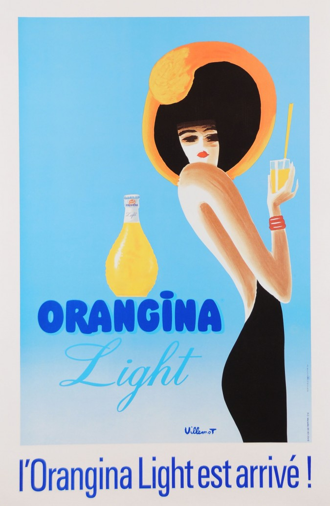 """Vintage French Orange  Drink Poster """"Orangina"""" by Villemot Later Printing"""